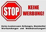 Keine Werbung! 2 Briefkastenaufkleber - Keine kostenlosen Zeitungen, Handzettel, Wurfsendungen und Wochenzeitungen! - Absolut wetterbeständig 74x52 mm