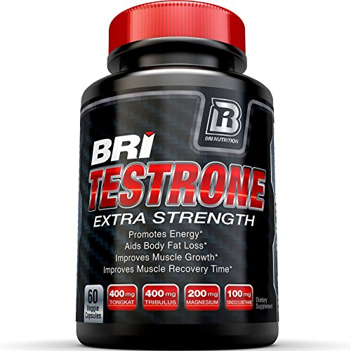 BRI Testrone Maximum Strength Testosterone Booster for Men Natural Strength, Stamina, Performance and Metabolism Booster for Healthy Fat Burning, Weight Loss and Muscle Gain (60 Veggie Cellulose Caps)