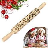 Faraone4w Weihnachten Präge Nudelholz, 3D Holz Teigroller mit Weihnachtselch- Baum- Und Schneeflockenmustern DIY Küchenhelfer für Weihnachtsthema Fondant Kuchen Teig Keks Backzubehör