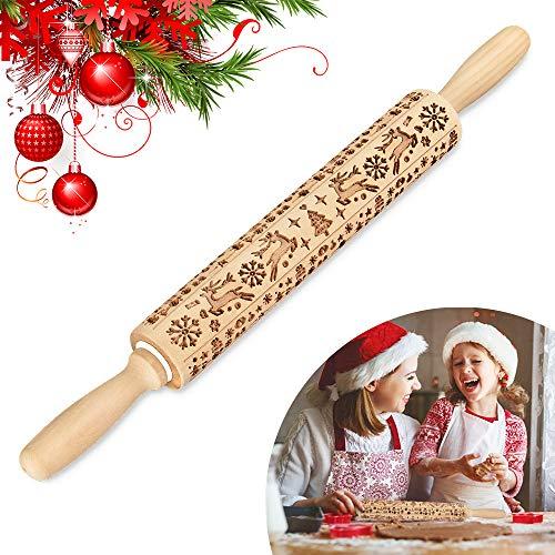 Navidad de Madera Embossing Rolling Pin, Herramientas de Cocina Patrón de Navidad 3D Madera Rodillo Relieve con Copo de Nieve de Alce de Arbol de Navidad para Horneando Masa Galletas