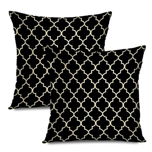 Butlerame Set of 2 Throw Pillow Covers Square 20x20 Inches Tan Geometric Black Khaki Quatrefoil Trellis Pillowcase Home Decor Cushion Case