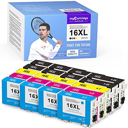 MyCartridge SUPCOLOR 16XL - Cartuchos de tinta compatibles con Epson Workforce WF-2750 WF-2760 WF-2660 WF-2650 WF-2630 WF-2540 WF-2530 para Epson 16XL (8 negro, 4 cian, 4 magenta y 4 amarillos)