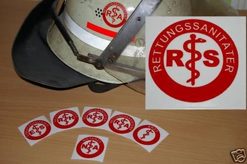 2x Helmaufkleber - RS - Helm Kennzeichnung LIEFERUNG VON MIH Medical