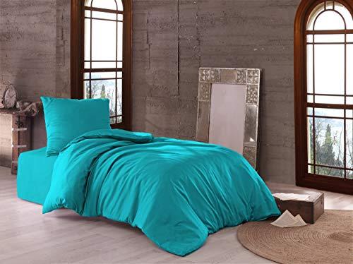 Bettwäsche Doppelpack 4 teilig luxuriöse Mako Satin Baumwolle Premium 2X 135x200 cm + 2X 80x80 cm Kissenbezug mit Reißverschluss Petrol, 4 teilig 135x200+80x80 cm