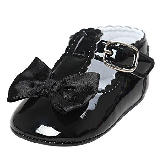 FNKDOR Baby Mädchen Bowknot Prinzessin Weiche Sohle Schuhe Kleinkind Turnschuhe Freizeitschuhe(12-18 Monate,Schwarz)
