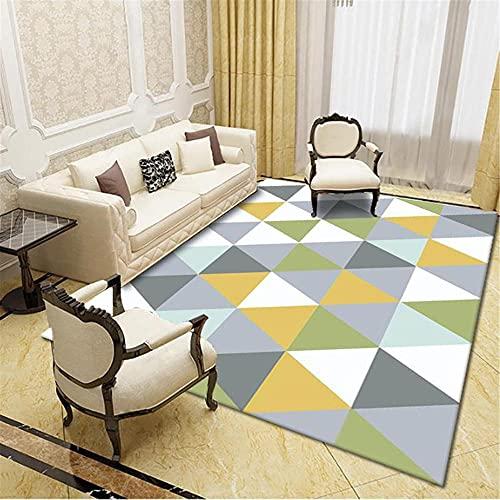 IRCATH Color geométrico triángulo Costura patrón Simple pie Sentado cómodo Suave Antideslizante Oficina de Oficina Mesa de café área alfombra-120x180cm Resistente y Duradera Resistente a la presión s