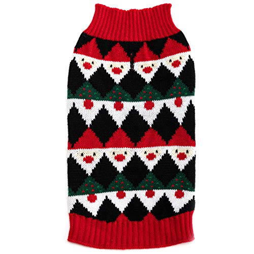 Hollypet Medium Puppy Dog Cat Black and Red Knitwear Sweater for Dogs and Cats Soft Fleece Coat Vest Warm Dogs Shirt Winter Cold Weather Pet Clothes