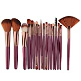 Kit de Brochas Maquillaje,JiaMeng Nuevo 18 unids Conjunto de Herramientas de Pincel de Maquillaje Kit de baño de Maquillaje Conjunto de Pincel de Maquillaje de Lana (Púrpura)
