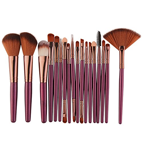IMJONO Professional 18 pièces Maquillage Set de Brosse Maquillage Doux Kit de Toilette Set de Brosse de Maquillage de Laine pinceaux(Violet)