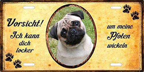 Holashirts Mallorca Hunde-Schild Blechschild eigenes Foto, Text selbst gestalten Metallschild Warnschild Türschild