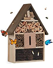 Relaxdays domek dla owadów, budka dla ptaków dzikie pszczoły i motyle, ogród, balkon, hotel pszczół wys. x szer. x głęb. 37 x 26 x 11 cm, kolor naturalny