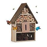 Relaxdays Hôtel à Insectes, Nid pour Abeilles Sauvages & guêpes, Jardin, Balcon, Refuge à bourdons, 37x26x11 cm, Nature