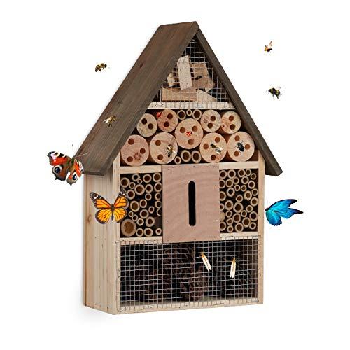 Relaxdays Insektenhotel, Nisthilfe Wildbienen & Schmetterlinge, Garten, Balkon, Bienenhotel HxBxT 37 x 26 x 11 cm, Natur