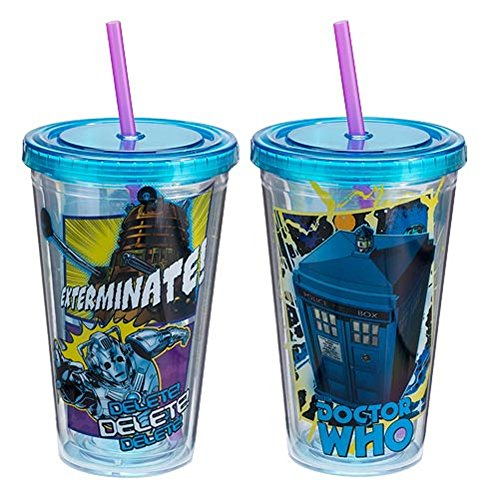 Doctor Who Tasse de voyage en plastique acrylique Mug Tardis Doctor Who Dalek Cyberman BBC TV Show