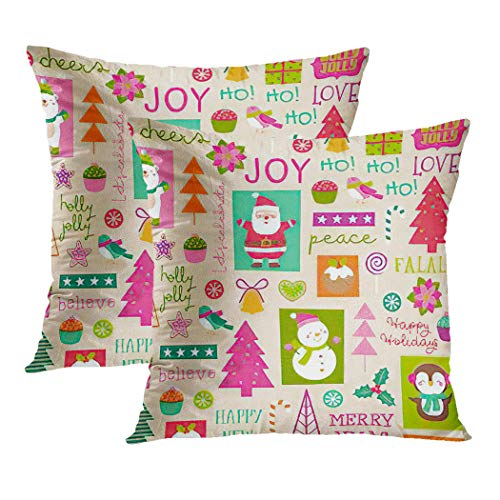Y·JIANG Cute Cushion Cover, Cartoon Character and Christmas Elements Snowman Bell Bird Soft Velvet Square Cushion Case Couch Cover Pillowcase for Sofa Chair Bedroom, 16 X 16 Inch, Set of 2