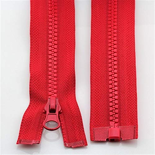 LHjin-Zippers durable, 2pcs 50cm 3# High-grade Resin Zippers, For Sleeping Bag Zip, For Clothes Jacket Clothing Down Colorful Zipper, (Color : Red 50cm, Size : 3)