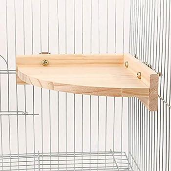 DEDC Perchoir Oiseaux Plate-Forme en Forme d'Eventail, Cage Support de Perchoir en Bois pour Oiseaux, Perroquet, Pinsons, Hamster Petits Animaux