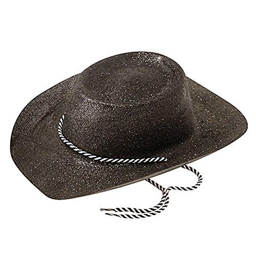 Bristol Novelty BH633 Sombrero de Vaquero con Purpurina, para Mujer, Negro, Talla única