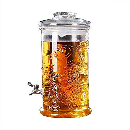 FMOGE Glass Beverage Dispenser Cold Beverage Drink Dispenser  Leak-Free Spigot  Glass Lid  Stable Base  5L,6L  Clear  Glassware for Water, Juice, Beer, Wine, Liquor, Best Cold Drinks,Wine Cabinets