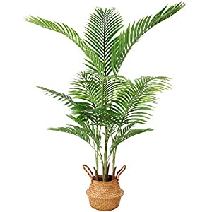 Silk Flower Arrangements Ferrgoal Artificial Areca Palm Plants 55 Inch Fake Dypsis Lutescens Tree with 15 Trunks in Pot and Woven Seagrass Belly Basket Perfect Faux Plant for Home Indoor Outdoor Office Modern Decor Green