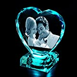 2D/3D crystal photo heart personalized with light base custom laser engraved photo crystal cube 3D picture in glass to Gift and anniversary memories Souvenir for Father's Day Women Men Girl Boy Birthday Wedding pets baby (Large heart 3.93inch)