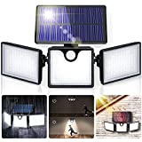 Luz Solar Exterior 266 LED ,GIANTARM Focos LED Exterior,con Sensor de Movimiento,Impermeable, seguro y ajustable en 360 °,luz nocturna segura adecuada para garaje Patio y jardín