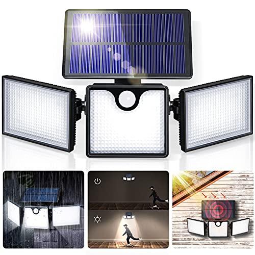 GIANTARM Luce Solare Esterno, 266 LED Faretto Solari da Esterno Regolabili con Sensore di Movimento, Testa a Lampada Rotante a 360°, Lampada Solare Impermeabile IP65 per Percorso Giardino …
