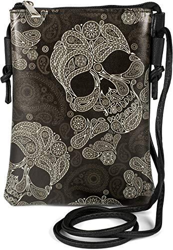 styleBREAKER Bolso mini bandolera para mujer con estampado de calaveras, cachemira, bolso de mano, 02012365