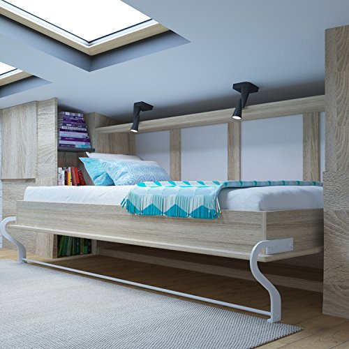 SMARTBett Armadio-letto, 90 x 200 cm, orizzontale, in rovere Sonoma, ideale come letto degli ospiti