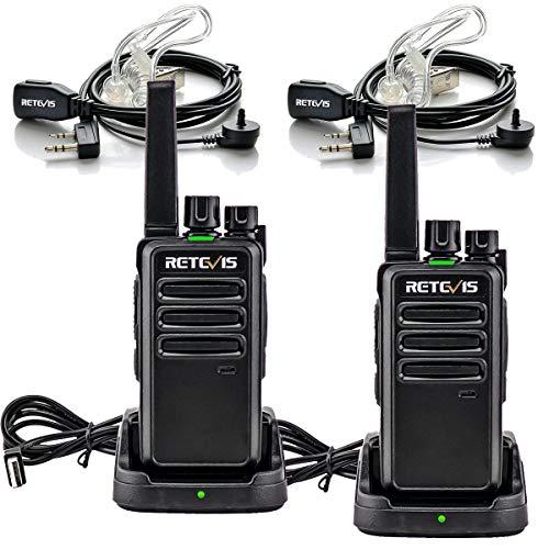 Retevis RT668 Funkgerät mit Headset Lizenzfrei Notfall 16 Kanäle CTCSS/DCS PMR Funkgerät Scan Rauschsperre VOX 2 Way Radio Wiederaufladbarer Walkie Talkie (Schwarz, 2 Stück)