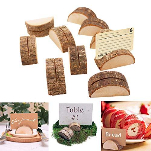 ZHER-LU - Soporte de madera para número de mesa de boda, soporte para tarjetas de visita, portatarjetas para fotos, tarjetas de mesa, hoteles, decoración de mesa del hogar Semicircle *10pcs