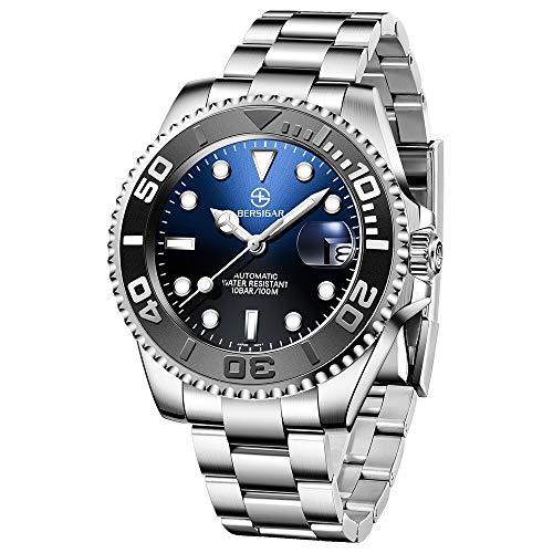 BERSIGAR Automatic Divers Watches Reloj analógico automático para Hombre con Correa de Acero Inoxidable