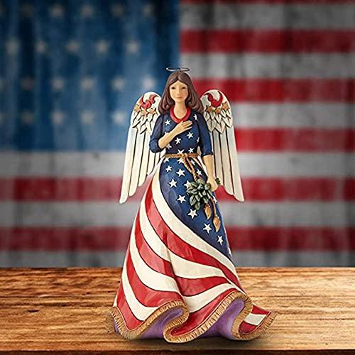 FENGLISUSU Jim Shore Heartwood Creek Patriotic Angel con Estatua de Bandera, Faída Religiosa Bandera de Acento Figurilla, 4 de Julio Independencia Día de Memorial Decoración