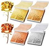 Gold Leaf Sheets for Resin Foil Leaf Paper Metallic Foil Flakes for Gilding Craft, Nail Art, Decoration, Slime, Furniture, Painting (Imitation Gold, Silver, Champagne Gold, Rose Gold Color) 200PCS