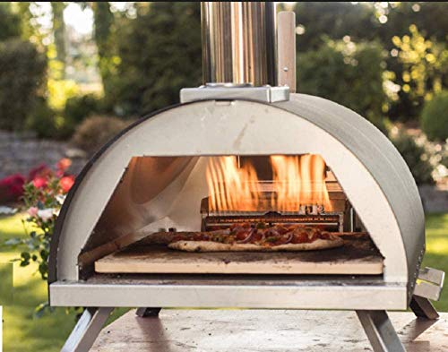 Megashopitalia Forno per Pizza Bi-Fuel Gas Legna Pellet in Acciaio Inox con Pietra Refrettaria e Pala Temperatura Massima 500C°