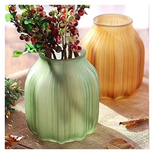jarrón Vasos de vidrio de colores europeos de vidrio Decoración de la sala Vintage Frosted Vidrio Flor Flor de flores Decoración Contenedor Hidropónico Botella de vidrio Decorar ( Color : Pink 16cm )