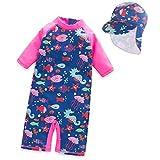 Tyidalin Mädchen Badeanzug Einteiler Baby Bademode Schwimmanzug UV-Schutz Kinder Badebekleidung mit Sonnenhut, Rosa, 110/116