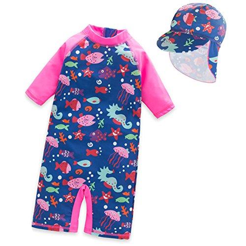 Tyidalin Mädchen Badeanzug Einteiler Baby Bademode Schwimmanzug UV-Schutz Kinder Badebekleidung mit Sonnenhut, Rosa, 98/104