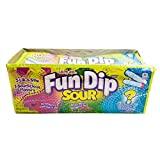 Take a trip down memory lane and have a fun-tastic time dipping your candy sticks into a mouth-puckering, sour powder! One case contains 24 packets of Sour Fun Dip. Each packet contains 2 Lik-a-stix and 3 Sour-licious flavors: Strawberry Smackeroo, W...