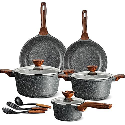 ilimiti 11 PCS utensilios de cocina Ollas y Cacerolas, apto para todas las cocinas incluyendo inducción y gas(11 Pcs Set)