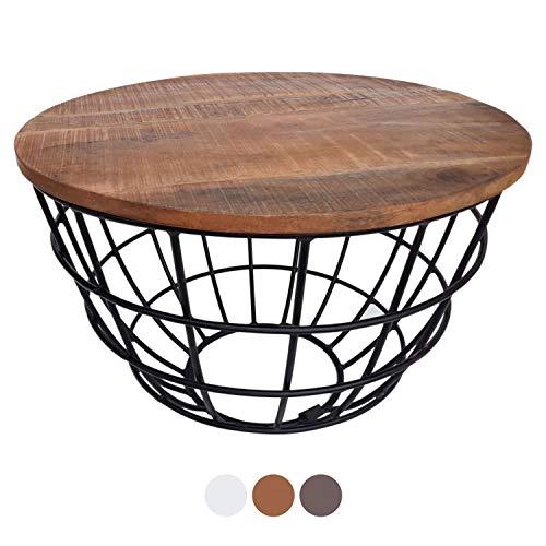 Couchtisch Wohnzimmer-Tisch rund Beistelltisch Lexington ø 55 cm Metall Drahtgestell Gitter massiv Farbe Tabacco