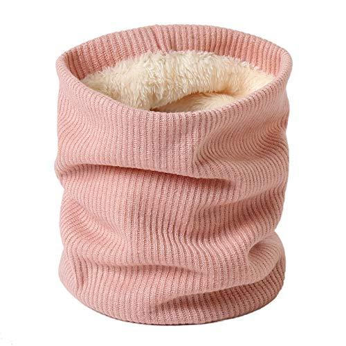 JIAMIN Scarf Women Knit Winter Scarf Snood Neck Plus Fur Ring Scarves Men Solid Warm Cashmere Round Collars Unisex Outdoor Scarfs scarf (Color : Pink)