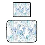 15' Laptop Sleeve Locking Edge Mouse Pad Multi-Color & Size Choices Case/Neoprene Notebook Computer Pocket Tablet Carrying Bag Cover, Navy Blue Ocean Jellyfish Sets
