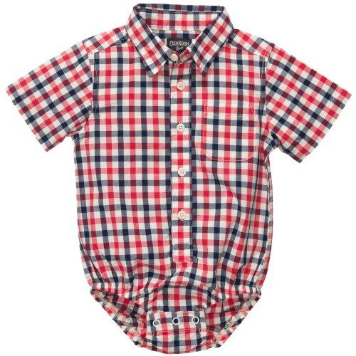 OshKosh B'Gosh - Camisa de manga corta para niño, diseño de cuadros