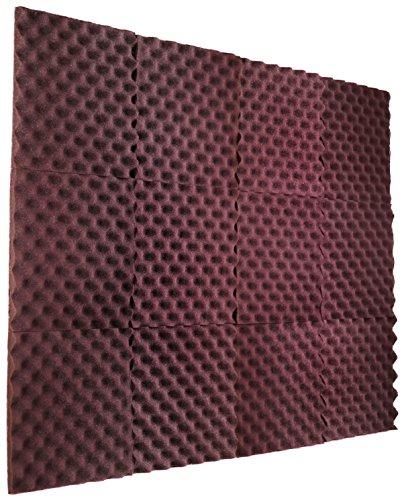 New Level 12 Pack - All Burgundy Acoustic Panels Studio Foam Egg Crate 1 X 12 X 12