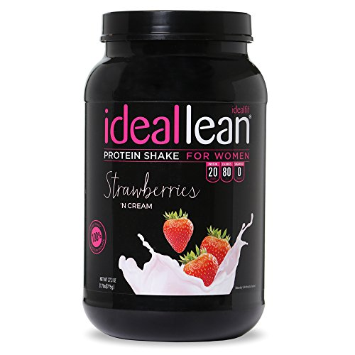 IdealLean - Nutritional Protein Powder for Women | 20g Whey Protein Isolate | Supports Weight Loss | Healthy Low Carb Shakes with Folic Acid & Vitamin D | 30 Servings (Strawberries N' Cream)