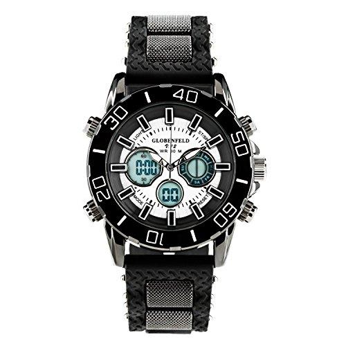 GLOBENFELD - Limited Edition V12 - Herren Analog Sportuhr mit Digital Display I Armbanduhr mit Metallgehäuse inkl. Stoppuhr für Männer I Robust, Edel und Elegant I Gummi-Armband - Schwarz