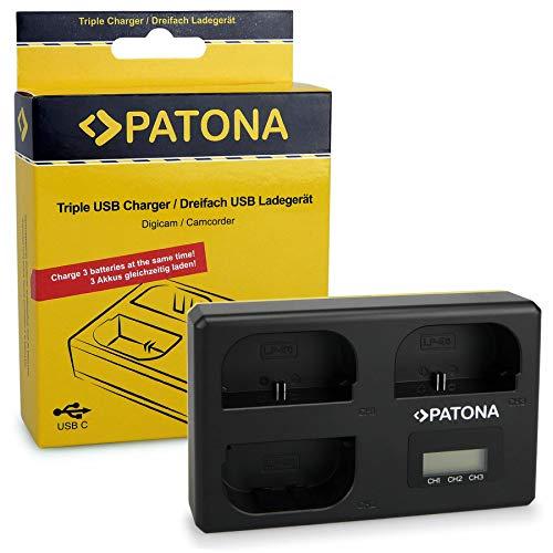 PATONA Triple Cargador para LP-E6 Batería Compatible con Canon EOS 5D, 60D,...