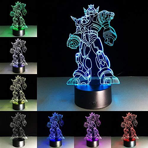 Coole Figur Anime Transformation 3D Tischlampe Kinder Spielzeug Geschenk Kinderspielzeug Film Roboter LED Nachtlicht Kinder Jungen Spielzeug