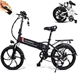Tazzaka E-Bike Elektrofahrrad 20 Zoll Klapprad Ebike Mountainbike MTB 350 W Motor 25 km/h mit Lithium-Akku 48V 10,4Ah Shimano 7-Gang-Schalthebel Aluminium-Elektroroller für Herren Damen